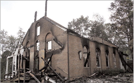 First Baptist Church of South Londonderry, burned in 2010.