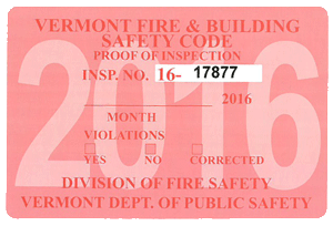 VT fire inspection sticker 2016